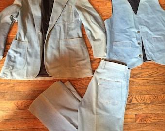 Vintage 1970's Levi's Panatela 3 Piece Brushed Denim Suit Vest Jacket Pants 42R