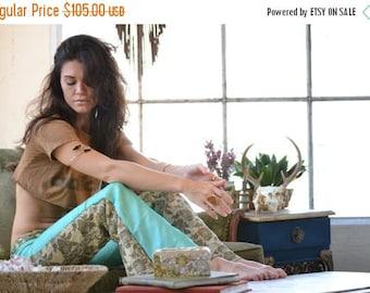 35% OFF Large /// ATHENA Lounge Pants /// Reversible Boho Casual Bells /// Vintage Saree Print Flare Pants /// one of a kind