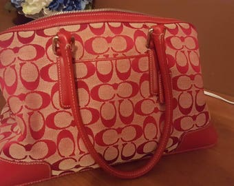 Coach Handbag Medium Size in Red