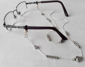 Silver Tone Eyeglasses Necklace,  Silver Plated Eyewear Chain, Sun glasses Chain,  Reading glasses Lanyard, Silver Lanyard