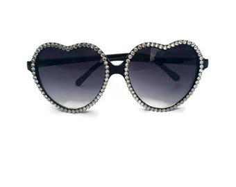 Black Heart Shaped Sunglasses with Rhinestones, Heart Sunglasses, Rhinestone Sunglasses, Retro Sunglasses, Embellished Sunglasses, Cute