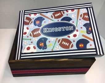 Boys Sports Themed  Keepsake Box