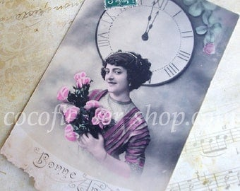 Happy New Year 2018, Antique postcard, Vintage Greeting card, Bonne année, French New Eve