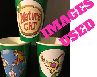 Nature Cat Birthday Party Cupcake Cake Toppers Picks - 24