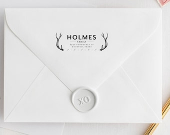 Custom Address Stamp, Name with Antlers, Family Address Stamp, Family Stamp with Antler, Custom Return Address Stamp, Rustic Address Stamp