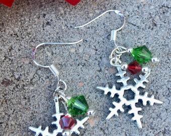 Christmas Holiday Snowflake Earrings with Swarovski Dangles