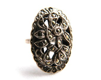 Antique Vintage Art Nouveau Sterling Silver Marcasite Floral Ring - Elongated - Size 5 - Signed