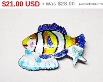 Zarah Enamel Fish Brooch - Enamel Over Sterling Silver - Whimsical Figural - Yellow Blue & White 1960's 1970's era - Pop ART Era