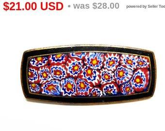 Czech Millefiore Art Deco Pin - Retangle - Red, Blue, Yellow, black - Enamel & Brass Brooch - Signed Czechoslovakia - Early Century European
