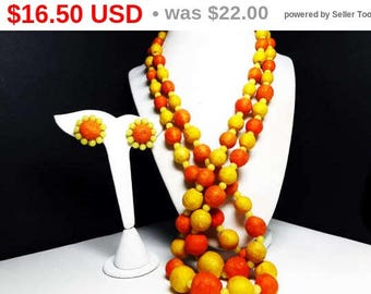 Orange and Yellow Beaded Necklace Earrings Set - Felted Type Beads - Graduated Beaded MOD Demi Parure - 1960's 1970's Era Vintage Jewelry