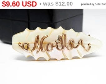 Oval Mother of Pearl Pin - Gold Tone Script MOTHER on MOP Scalloped Leaf Shape Brooch - Vintage 1950s 960s Mid Century