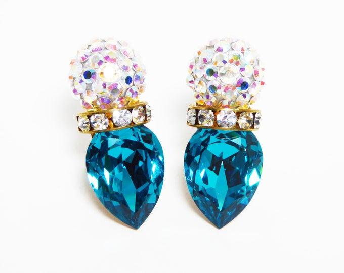Teal Blue Rhinestone Earrings for Pierced Ears, Crown of Clear Aurora Borealis Rhinestones, Vintage 1980s 1990s Stud Post Pierced Earrings