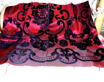 Vintage Fabric Remnant Velvet flocked Burgundy