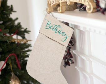 PRE ORDER Personalized Christmas Stocking Custom Classic Christmas Stocking Personalized Gift Monogrammed Christmas Stocking Glitter Name