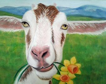 Goat Painting Goat and Flowers Art Farm Animal Art Goat Lover Whimsical Goat Art Kid's Decor Kitchen Decor Goat Oil Painting Karen Snider