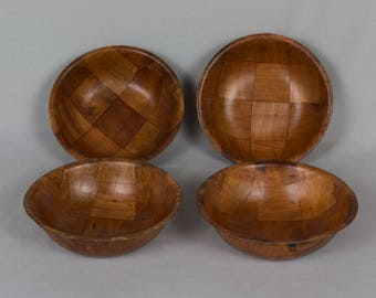 Woven bamboo salad bowls 4 salad bowls Individual salad bowls Vintage from the 1970s Excellent Condition