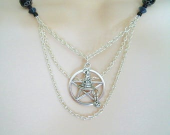 Witch Hat Pentacle Necklace, wiccan jewelry pagan jewelry wicca jewelry goddess witchcraft pentagram magick gothic necklace witch necklace
