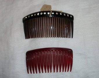 Vintage 1950's Set of 2 1 Large Rhinestone Comb and 1 Plain Plastic Comb for Hair Decoration