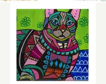 45% Off Today- Tabby Cat Folk art Tile Ceramic Coaster Mexican Folk Art Print of painting by Heather Galler