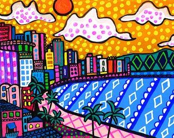 Honolulu Skyline by Heather Galler Original Painting American Folk Art Oahu Hawaii - Palmtree Beach Ocean City