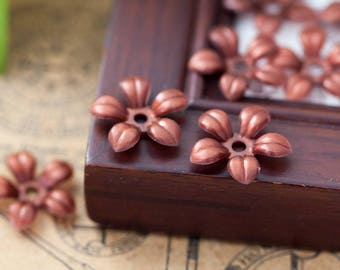 Vintage Flower Beads Rich Brown Lucite Plastic Flower Beads 17mm