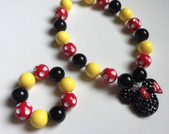 Mickey Mouse Jewelry - Minnie Bracelet - Mickey Mouse Bracelet - Minnie Necklace - Disney Birthday - Minnie Mouse Necklace - Minnie Party