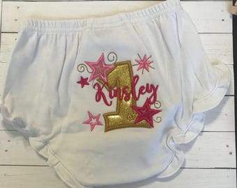 First Birthday Diaper Cover-Birthday Bloomers-Twinkle Twinkle Little Star Birthday Bloomers