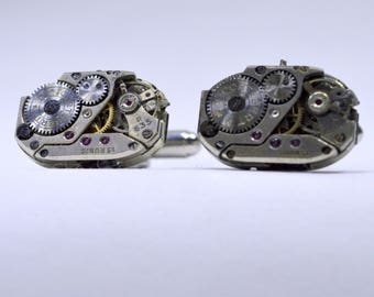 Rectangular Steampunk Cufflinks lovely set of watch movement cufflinks, ideal gift for a wedding, anniversary or birthday 60