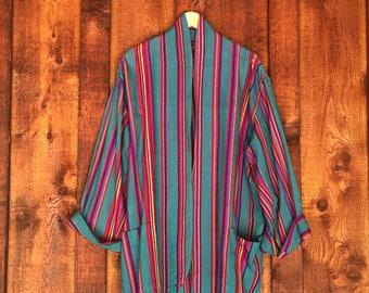 Vintage 90s Guatemalan Woven Boho Wrap Jacket