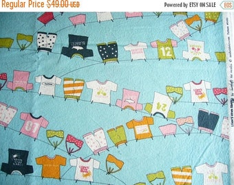 ON SALE Lucy's Crab Shack Clothesline cotton quilting fabric - OOP - yardage - aqua orange green pink black white - rare, Htf