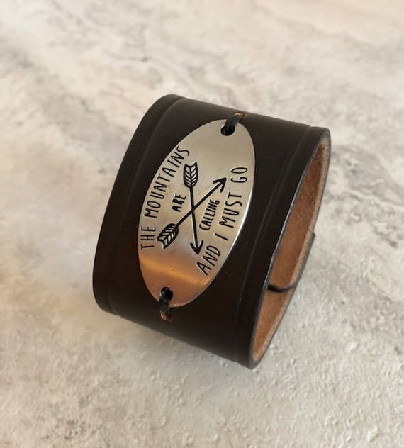 "Handmade Women's Black Leather Cuff Bracelet ""Mountains Are Calling"" (6.25 inches)"