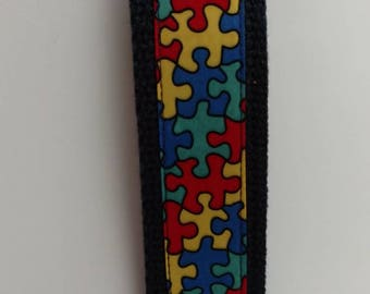Puzzle Pieces Autism Awareness Key Fob Wristlet Key Chain - Ribbon on dark blue (navy) Cotton Heavyweight Webbing