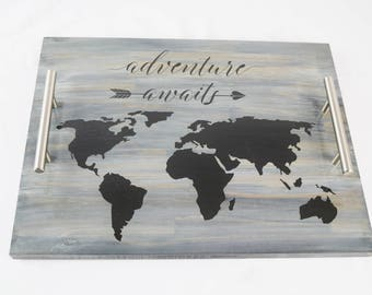 Adventure Awaits World Map Stained Wood Serving Tray, Coffee Tray, Tea Tray, Espresso Tray