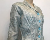 Vintage 1950s silk novelty print persian cat fitted peplum suit jacket with rhinestone buttons.