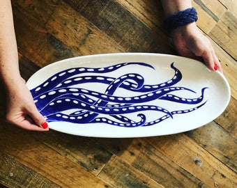 "Giant serving platter, hand painted, octopus, blue and white, oval bread server, 20"" long"