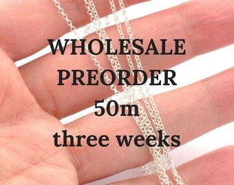 Unfinished sterling silver chain by meter - sterling rolo chain 1mm - 50 meters wholesale preorder (three weeks)