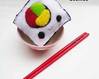 ON SALE - Sushi Roll Pin Cushion -  Cute Children Toy , Kawaii Stuffie , Children Stuffed Animal , Pin Cushion , Plush Toy , Felt Food