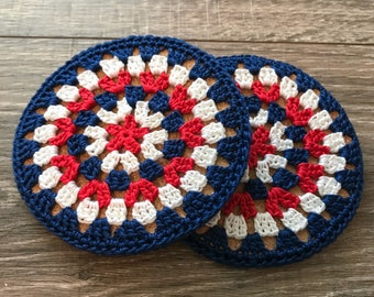 Patriotic Red, White and Blue Cork Coasters