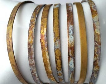 50 PERCENT OFF Simple Modern Brass Stacking Bracelets with Patina FInish