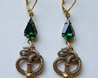 4th of JULY SALE Emerald Serpents // Gold Plated Snake Earrings with 1950s Emerald Swarovski Crystals Egyptian Revival Art Deco Flapper Bohe