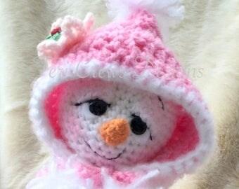 Summer Sale Cute Snowgirl Crochet Pattern This Girl Love Pink Instant Download PDF format Amigurumi