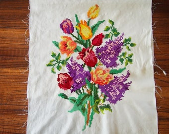 Embroidered Panel Vintage Flowers Floral Cross Stitch Pillow Top Picture Quilt Patch