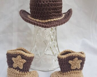 Crocheted Baby Newborn Cowboy Boots and Cowboy Hat Tan and Brown Photo Prop Baby Shower Gift