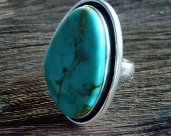 Turquoise Statement Ring - Handmade Sterling Silver and Turquoise Boho Style Statement Ring - Turquoise Ring - Size 8.6