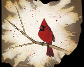 Wooden Ohio Cutout with Cardinal -- Ohio State Bird Reproduction -- Ready to Hang