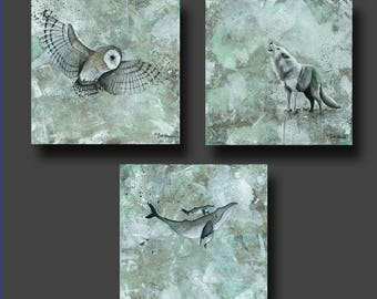 PRINT or GICLEE Reproduction -- Owl, Wolf, Whale prints -- Minimalist Art -- Single or Set -- Simplicity by Britt Hallowell