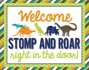 Dinosaur party poster, PRINTABLE, 8x10 poster, dinosaur birthday party poster, dinosaur party decor, dinosaur birthday decoration, welcome