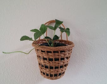 Wicker plant basket, hanging planter, vintage rattan light wood, FREE SHIPPING