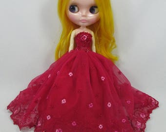 Blythe Outfit Clothing Cloth Fashion handcrafted beads tutu lace gown dress 9-1