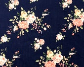 Navy Peach Yellow and Green Floral Rayon Challis, 1 yard